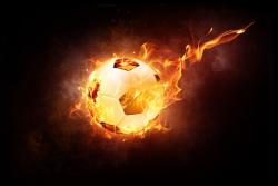 Ballon de foot, football, flammes